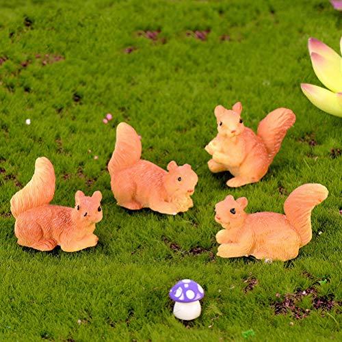 BESTIM INCUK Miniatur-Dekofiguren für den Garten, 1 Stück, niedliches Eichhörnchen aus Kunstharz, für Heimwerker, Miniatur-Garten, Terrarium, Puppenhaus, Dekoration -