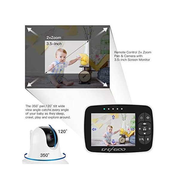 """CACAGOO Baby Monitor Video Baby Monitor with Camera Remote Camera Pan-Tilt-Zoom, 3.5"""" Color LCD Screen, Temperature Display, Lullaby, Two Way Audio, with Wall Mount Kit CACAGOO 【120° Wide-Angle& Smart Alarm Reminder】 CACAGOO baby monitor video baby monitor designed with 350° horizontal and 120° vertical rotation to make up a 360°complete coverage, protect your baby all the time. Humanized 2.4.6H alarm reminder of this video monitor baby camera monitor will help you better plan your baby's daily routine, such as when to change your baby's diaper and so on. 【Greater Peace of Mind, Less Stress】Monitor your baby's sleep with the most advanced 3.5-inch high-resolution, high-quality color TFT LCD display with 2x zoom magnification. The baby monitor video baby monitor features a unique 1 / 6.5"""" color CMOS image sensor to provide clear digital vision and sound to every parent. Enhanced 2.4GHz FHSS technology is more reliable and safe than WIFI. 【Energy-saving VOX(EOC) Mode& Two-way Talking】 With VOX(EOC) mode, the baby monitor video baby monitor automatically turns on the screen when it detects a sound. It automatically turns off the screen in a silent environment to save power. ECO MODE extends the maximum battery life of baby monitors by 120% compared to other baby video monitors without this mode. Built-in mic and speaker and anti-noise technology, offer you a smooth conversation with your baby anytime, anywhere. 2"""