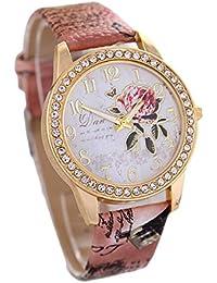 7b6beaac7c37 Qingsun Beau Montre Ceinture Femme avec Motif Papillon Fleur de Diamant  Bande Analogique-Bracelet à