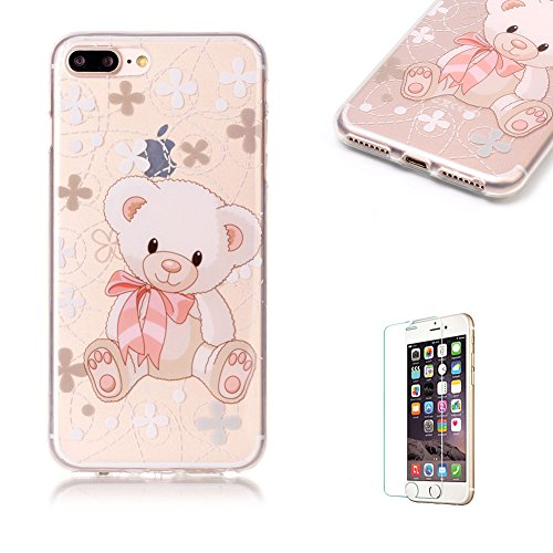 Für iPhone 7 Plus 5.5 Zoll [Scratch-Resistant] Weichem Handytasche Weich Flexibel Silikon Hülle,Für iPhone 7 Plus 5.5 Zoll TPU Hülle Back Cover Schutzhülle Silikon Crystal Kirstall Durchschauen Clear  Rosa Bär