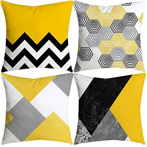 Juego de 4 cojines amarillos y gris para decorar
