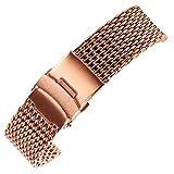 22mm Rotgold Maschenschleife milanese Edelstahl-Metall-Ersatzband Armband Gürtel für Luxusuhr
