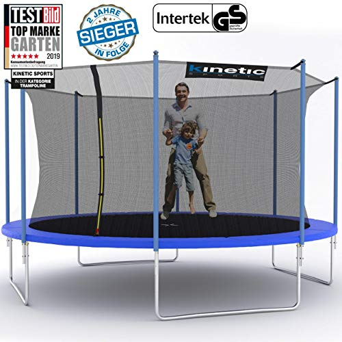 Kinetic Sports Outdoor Trampolin TPLH14 Gartentrampolin für Kinder und Erwachsene mit Randabdeckung und Sicherheitsnetz Ø 430 cm