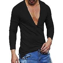Camisetas Cuello en V Hombre,Camiseta de Manga Larga básica Casual Slim Fit para Hombres