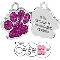 Placas de identificación Berry de huellas personalizadas en acero inoxidable de 24mm para perros y gatos, grabado láser