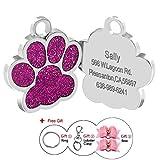 Berry 24 mm Edelstahl personalisierbare ID-Tags für Hunde und Katzen, Pfotenabdruckmotiv, gratis Laser-Graviert.