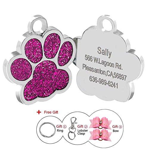 Berry 24 mm Edelstahl personalisierbare ID-Tags für Hunde und Katzen, Pfotenabdruckmotiv, gratis Laser-Graviert. (Gravierte Hund Katze)