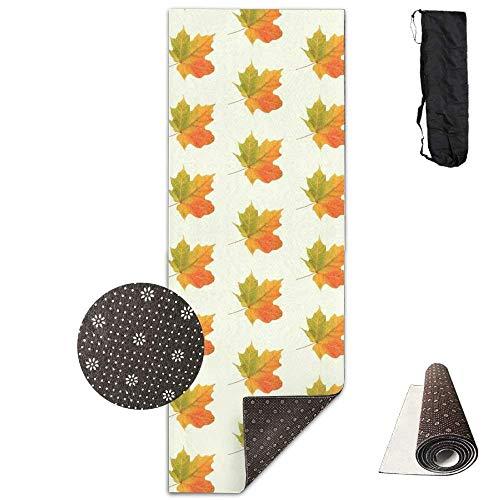 FGRYGF Non Slip Fitness Exercise Mat, Workout Mat for Yoga, Pilates and Floor Exercises, Non Slip Yogamatte,Autumn Maple Leaves 3D Print Velvet with Carrying Strap -