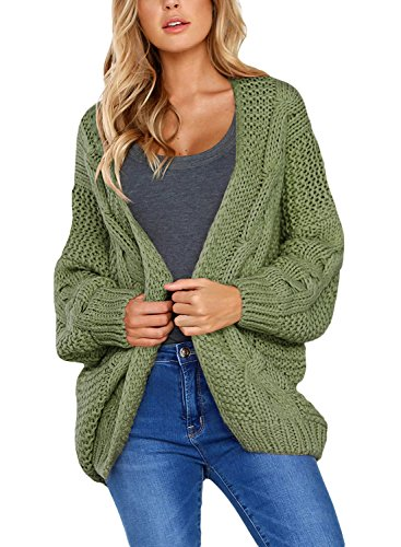 Aleumdr Strickjacke Damen Grobstrick Strickmantel strickcardigan Damen Herbst Winter Casual Open Front Sweater Cardigan Cover Up Patchwork Outwear S-XXL, Grün, Medium (EU38-EU40)