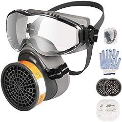 Máscara de Gas Zelbuck 8100 Mascara Pintura con Gafas Protectoras Reutilizable Protección Respirador Semimáscara con Doble Filtro para Pintura, Polvo,Productos Químicos,Lijado a Máquina,Formaldehído