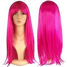 Peluca larga recta para mujer Vestido de Lujo Cosplay Wigs POP Party Costume (Rosa caliente