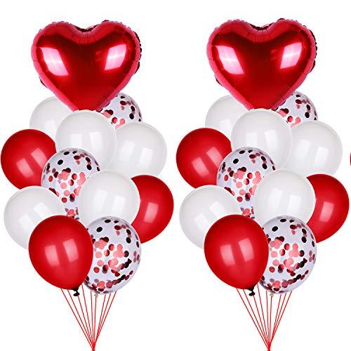 40 Piezas de Globos de San Valentín, Globos de Helio de Papel Metálico en Corazón Rojos Globos de Látex Globos con Confeti para Decoración de Día de San Valentín