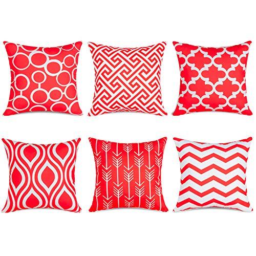 Topfinel 6er Set Kissenbezüge 50x50 cm Qualitäts Kissenhüllen in Segeltuch mit Geometrischen Mustern für Sofa Auto Terrasse Zierkissenbezüge Pfeil Rot und Weiß (Sofas Rot)