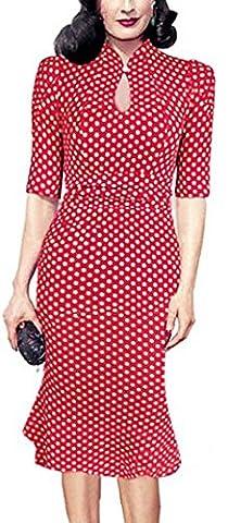 SunIfSnow - Robe spécial grossesse - Moulante - À Pois - Col Boutonné - Manches Courtes - Femme - rouge - X-Large