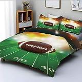 Juego de funda nórdica, balón de fútbol americano con propiedades doradas en césped Turf Field Team Art GraphicDecorative Juego de cama de 3 piezas con 2 fundas de almohada, verde marrón, el mejor reg
