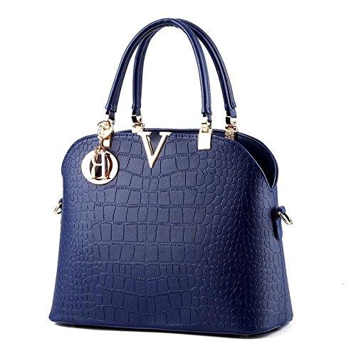 LDMB Damen-handtaschen PU Leder süße Lady Stereotypen Schale Tasche Schulter Messenger Handtasche treasure blue