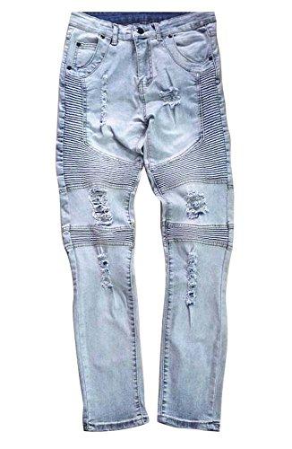 Mens Designer Marke Super Stretch Skinny Fit Jeans Distressed Herren Jeans (Designer-jeans Rabatt)