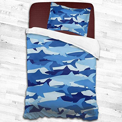 Bettbezug Duvet Cover Set Shark Camo Blue Military Camouflage Twin Size Boys Girls Decorative 2 Piece Bedding Set with 1 Pillow Shams for Girls Kids Children