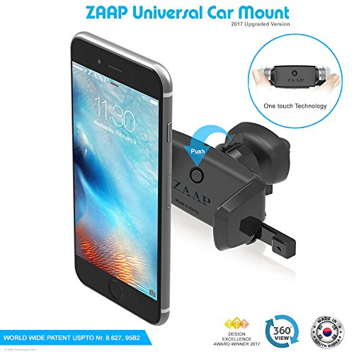 Mobile Phone Accessories zaap® (usa) easy vent two (3rd generation) premium car mount/air vent mount/car mobile holder {award-winning,-made in korea} universal compatible for smartphones with 360 degree rotation & fully adjustable view, perfect for cars, mobile holder (black, car accessories) ZAAP® (USA) Easy Vent Two (3rd Generation) Premium Car Mount/Air vent Mount/Car mobile holder {Award-winning,-Made in KOREA} Universal compatible for Smartphones with 360 degree rotation & fully adjustable view, Perfect for Cars, Mobile holder (Black, Car accessories) 5176DT5WNeL