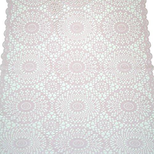 Vemira Tischläufer Spitze PVC- Rosa -40 x 150 cm, Camping, Gartentischdecke, Abwaschbar