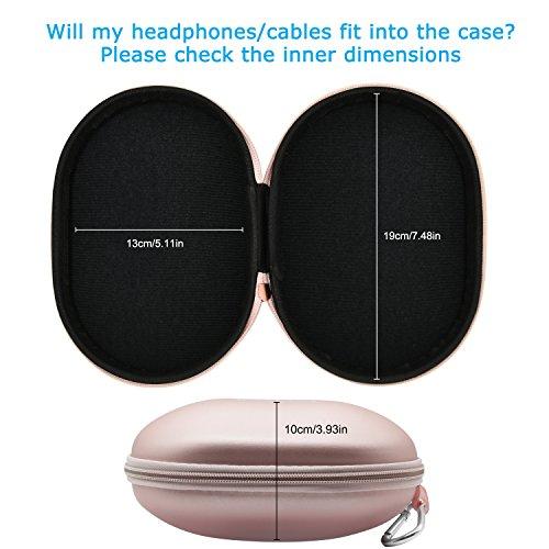 Ifecco Kopfhörer Tasche, Schutztasche Fallbeutel Aufbewahrungstasche mit Karabiner für klappbar Kopfhörer V5,N3 (golden Rose) - 7