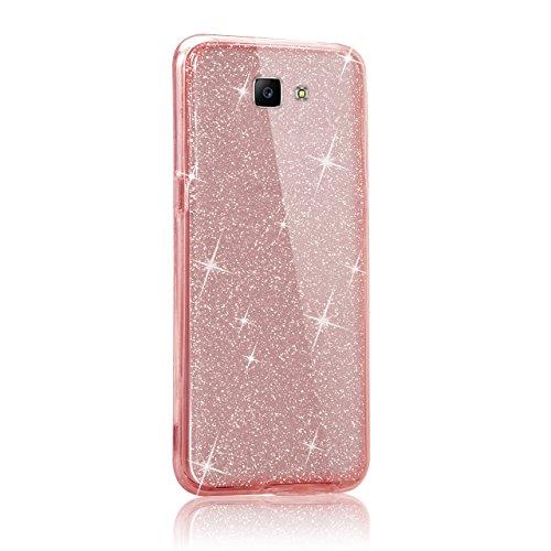 Custodia Samsung Galaxy J7 Prime Cover Case , Vandot [360 gradi] 3 in 1 Protezione Completa Glitter Sparkle Bling Bling Trasparente Custodia per Samsung Galaxy J7 Prime Cover Case Caso Gomma Ultra Sot 360 Rosa
