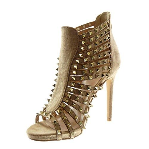 Angkorly Shoes Moda Zapatos Decollete Sandalias Stiletto High Gladiador Mujer Tachonado Multi-bridle Doro Stiletto High Heel 11.5 Cm Beige