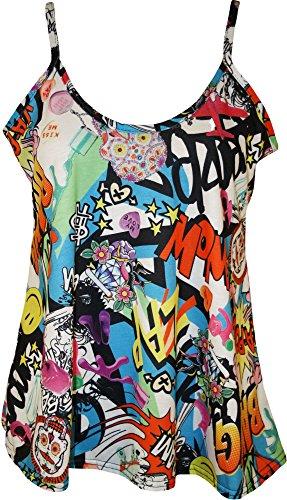 WearAll - Grande taille imprimé swing débardeur camisole top - Hauts - Femmes - Tailles 44 à 54 Comic