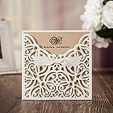 VStoy taglio Laser, inviti da matrimonio Cards-Kit per matrimonio, fidanzamento da sposa, con fiocco, con busta e nastro con imballo Card, confezione da 20 pezzi (Bianco)