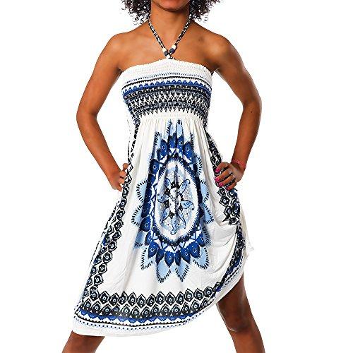 H112 Damen Sommer Aztec Bandeau Bunt Tuch Kleid Tuchkleid Strandkleid Neckholder, Farben:F-023 Blau;Größen:Einheitsgröße