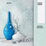 Papier peint intissé bleu et blanc Newroom - Style baroque classique pour maison de campagne - Joli design élégant et moderne - Instructions incluses (français non garanti), intissé, Imprimé 1, Muster 1