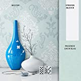 NEWROOM Barocktapete Tapete Blau Ornament Barock Vliestapete Weiß Vlies moderne Design Optik Barocktapete Wohnzimmer Glamour inkl. Tapezier Ratgeberer