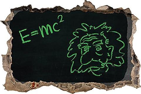 Pixxprint 3D_WD_5288_62x42 Albert Einstein Wanddurchbruch 3D Wandtattoo, Vinyl, schwarz / weiß, 62 x 42 x 0,02