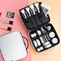 Cosmetic Bag,PU Leather Makeup Bag,Waterproof Travel Makeup Case with Adjustable Compartments, Shoulder Strap - White(26 x 23 x 12.5 cm)