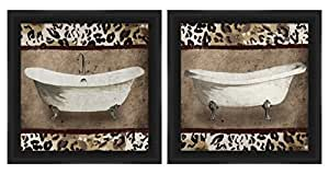 """PTM Images """"Cheetah Tubs"""" Artwork, 14 by 14-Inch, Black, Set of 2"""