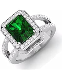 Bittu Fashion Silver Plated Green Diamond Ring For Girl's And Women's Free Size