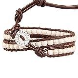 KELITCH Leder Armband Frauen Herren Wickelarmband Weiß Türkis Perlen Wickelarmband Damen Armband Leder Armbänder - Braun Leder