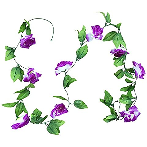 iShine Romantic Classic Silk Roses Ivy Vine Artificial Flowers Green Leaf Hanging Garland for Wedding Party Home Garden Wall Decoration