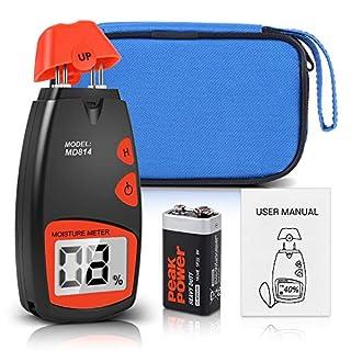 Digital Feuchtigkeitsmessgeräte Holz Feuchtemessgerät, LCD Feuchtigkeitsmesser Feuchtigkeitsdetektor mit 4 Pins Sensor für Holz Protokolle Brennholz mit einer 9V Batterie Feuchtemessbereich 5% -40%