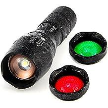 UltraFire Linterna LED Linterna Táctica A100,Rojo / Verde / LED De Luz Blanca De La Linterna,Impermeable 900 Max Lumens Zoomable Lente de cristal de intercambio de 3 colores Para La Pesca Caza