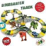 ACTRINIC Kit Giocattolo Dinosauro Giurassico Mondiale e 192 Piste Flessibili Contiene 3 Dinosauri,2 Veicolo Militare,4 Alberi,2 Slope Pedenti,Giradischi a Forma di U,Roadblock di Tipo Y