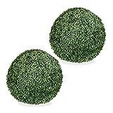 Relaxdays 2 x Buchsbaum künstlich, runde Dekopflanze, Buchsbaumkugel, Buchskugel Kunststoff, wetterfest, Kugel 48 cm Ø, grün