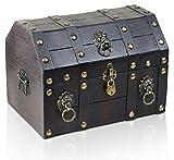 BRYNNBERG Caja de madera con candado Cofre del tesoro pirata de estilo vintage | Hecha a mano | Diseño retro |