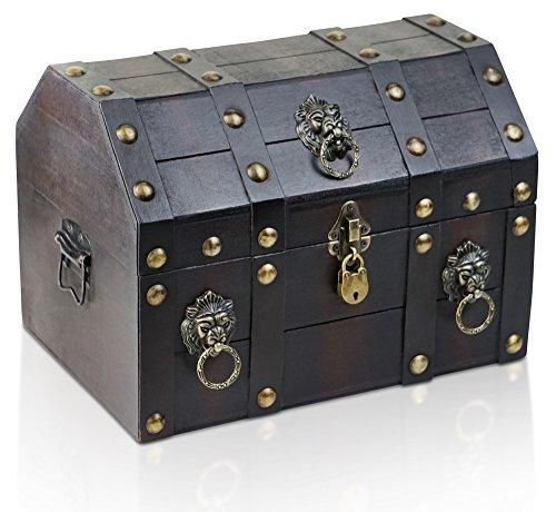 Caja de madera con candado de BRYNNBERG | Cofre del tesoro pirata de estilo vintage | Hecha a mano | Diseño retro | (Lionshead 33x23x24cm)