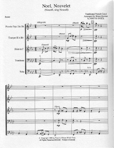 Noel, Nouvelet (Nowell, Sing Noel). Traditional French Carol for Brass Quintet / Traditionelle Französisches Weihnachtslied für Blechbläserquintett (Partitur und Stimmen)