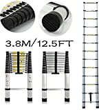 Multiusos escalera extensible telescópica de aluminio ligero portátil fiable 12,5pie max. 150kg 13pasos UK Stock