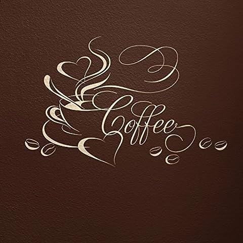 WANDfee - Adesivo da parete con motivo tazza di caffè con cuore e chicchi di caffè, 03_beige, 52 x 34 cm