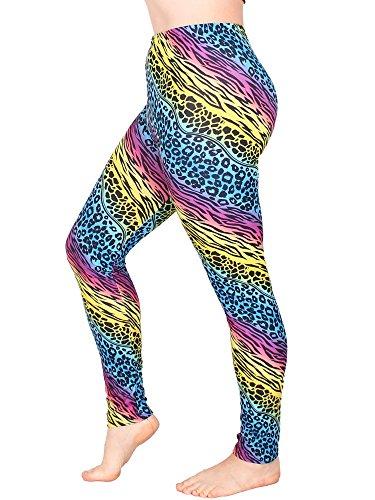 Leggins Damen Leggings leggings mit Muster bunt schwarz weiß elastisch 455 lang 1