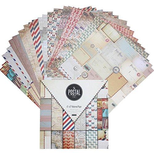 24 Blatt Scrapbooking Papier Gemustertes Karton Bastelpapier mit Vintage Design für DIY Handwerk Foto Hintergrund Deko Größe: 15,2 * 15,2 cm/6,0 * 6,0 in