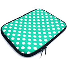 Emartbuy® Polka dot Verde / Agua Blanca Neopreno Resistente Caso Zip Soft Manga De La Case Case Carcasa Funda Funda Adecuada Para Samsung Galaxy Tab Pro 10.1 (10-11 Inch Ereader / Tablet / Netbook De)